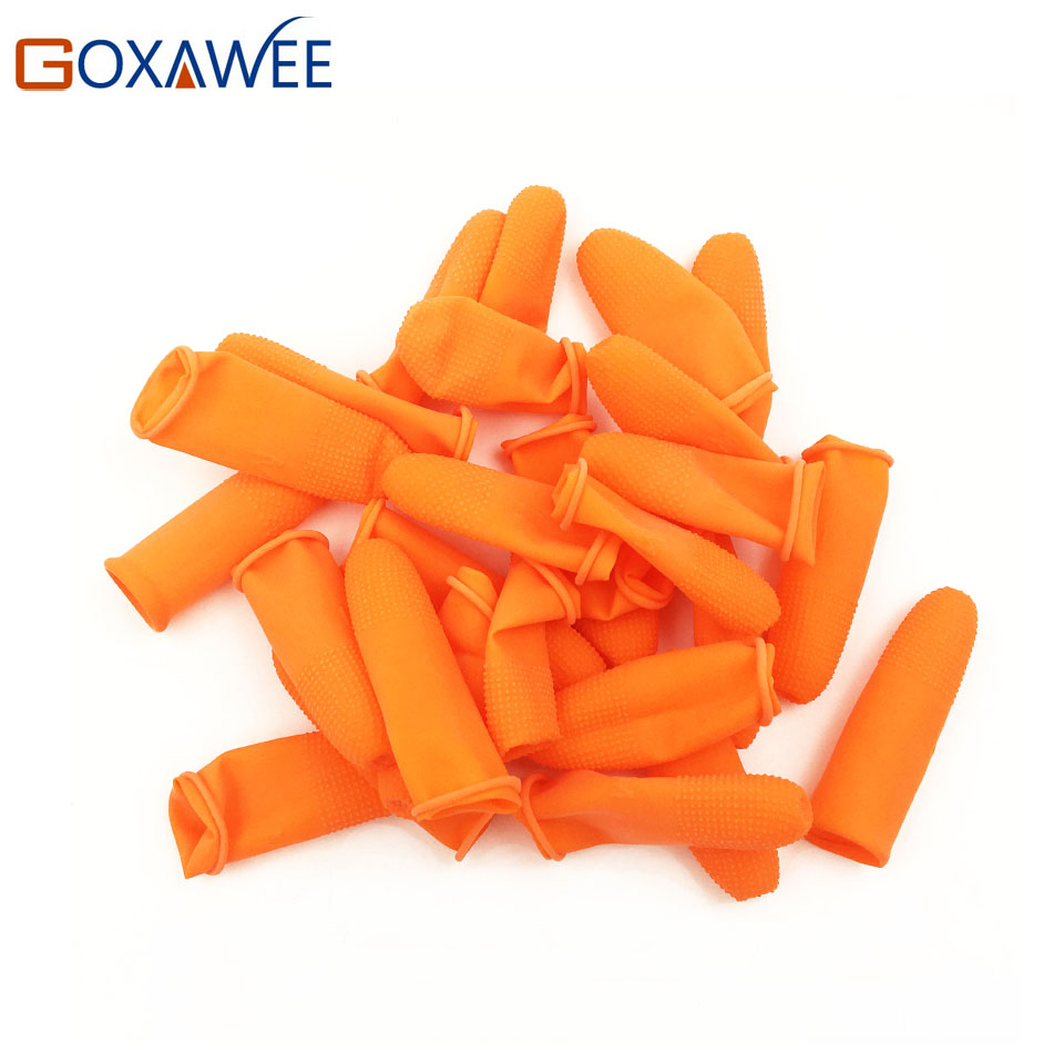 GOXAWEE 100pcs Fingertip Protector Tool Part Anti-Skid Orange Rubber Finger Guard Cover Stalls Cots Caps Antiskid Hair Extension