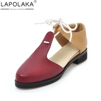 LAPOLAKA 2018 Large Size 30 46 Wholesale Dropship Lace Up Sandal Shoes Spring Summer Footwear Women