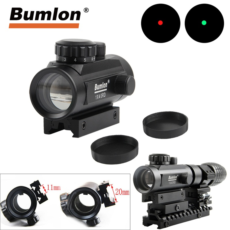 Holográfica 1x40 Red Dot Sight Airsoft Red Green Dot Sight Alcance de la Caza Alcance 11mm 20mm Rail Mount Sight Colimador HT5-0013