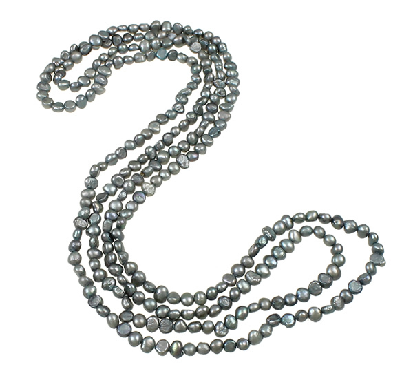 Length:Approx 55 Inch Wedding Jewelry 2-strand dark green 6-7mm Natural Freshwater Pearl Necklace
