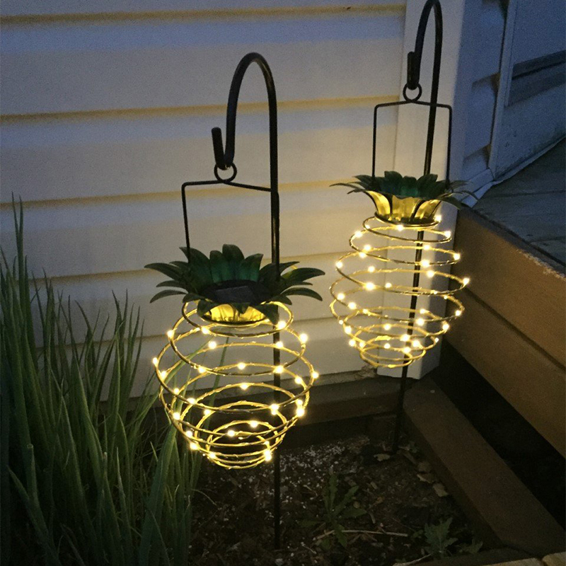 Fashion Waterproof Solar Metal Pineapple Outdoor Garden Camping Hanging LED Light Lamp Bulb Warm White Copper Wire String Light