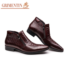 GRIMENTIN Italian luxury crocodile men's shoes ankle boots casual shoes genuine leather mens shoes winter basic flats office