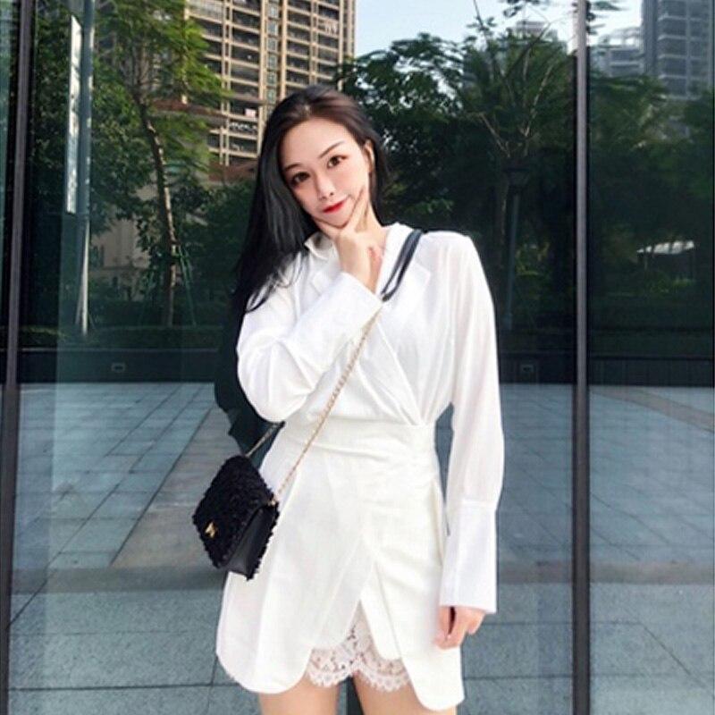New 2019 Fashion Women Skirt Suit Long Sleeve Pearl Button Blazer Blouse Sexy Lace Split Patchwork