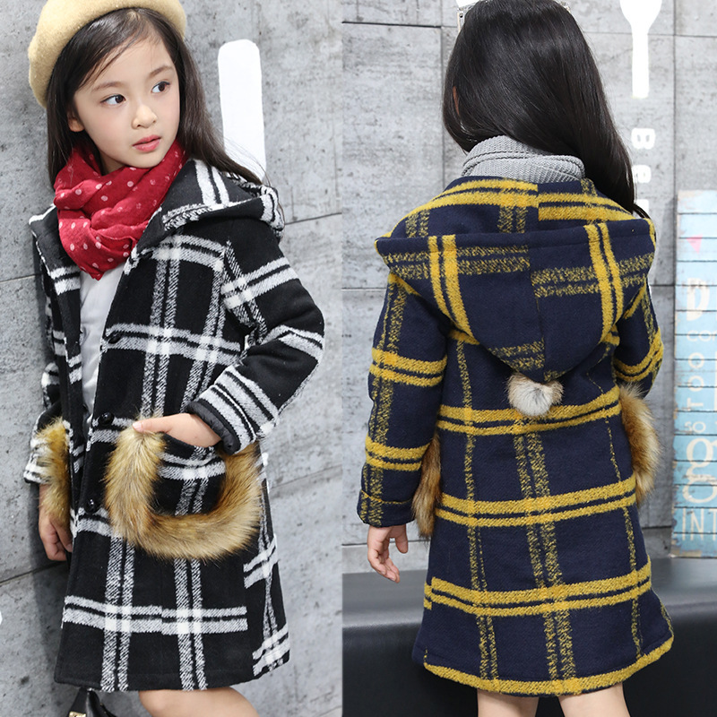 2016 Top Casual Cotton Polyester Lycra Worsted Wear Coat Autumn Winter Clothing New Korean Thickened Wool Children Lattice Tide