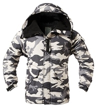 """New Edition """"SouthPlay"""" Men's """"White Military"""" Waterproof 10,000mm Hood Double Closed Camo Warming Jacket"""