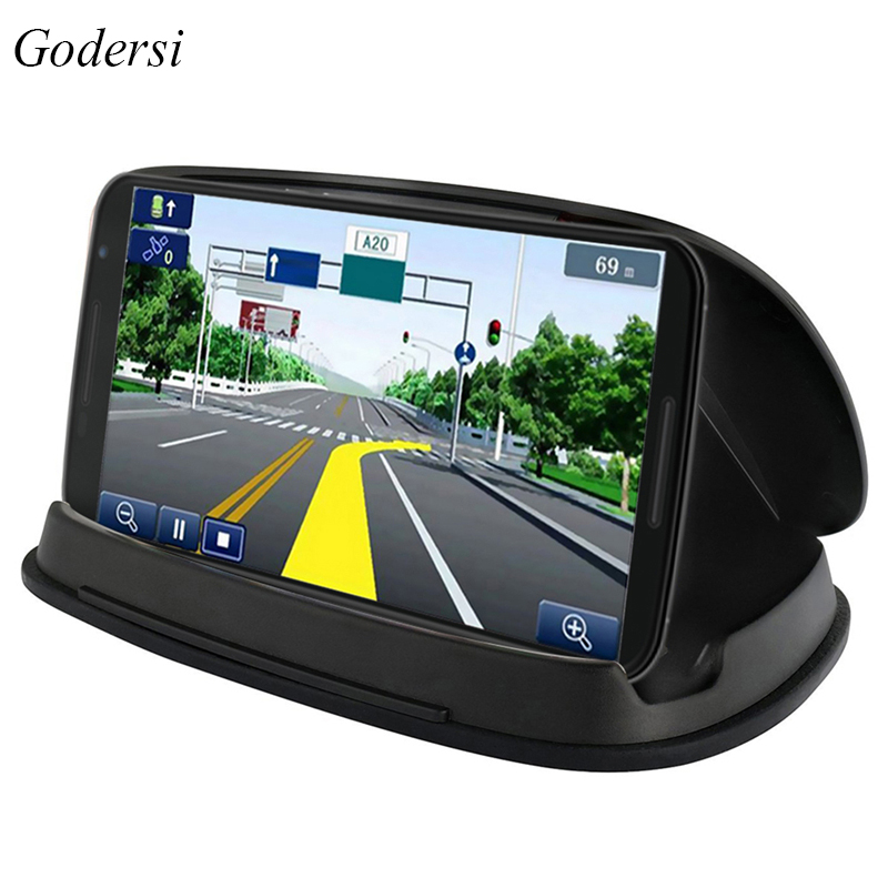 Godersi Car GPS Mount Holder Mobile Phone Stand Dashboard Anti Slip Mat Stable Sat Nav Tablet PC Bracket Stand With Free Gift windshield dashboard car holder phone stand with sucker adjustable easy installation