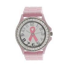 Nova Garota Mulheres Luxo Cristal Câncer Dial Analog de Quartzo Relógio Banda Silicone Relógio de Pulso Presentes Relojes Mujer 2017 Do Sexo Feminino Presente