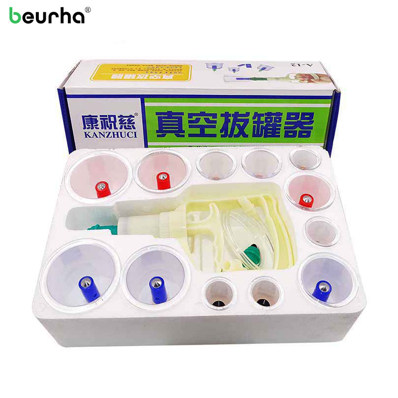 12Pcs Cupping Device Acupuncture Suction Cup Set Massage Cup Magnetic Therapy Vacuum Cups Body Massage Tank Gas Cylinders body massage suction silicone cup set travel medical vacuum cupping cups chinese traditional therapy device kit size xl l m s