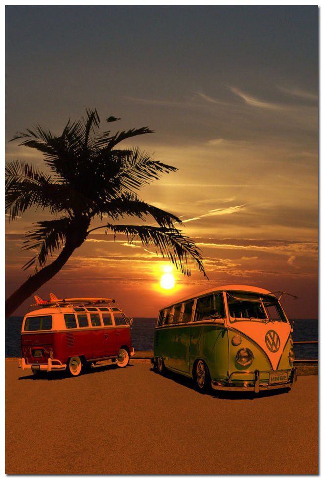 Sunset Vw Bus Campers At Surf Beach Silk Poster Art