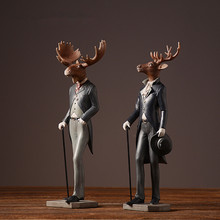 2PCS/SET Restore ancient ways American Style the Gentleman Elk Figurine Photo props Home Decoration Crafts