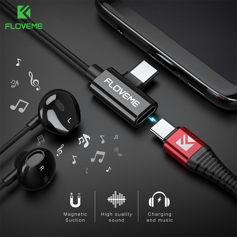 FLOVEME 2 In 1 USB Type C Earphone For Samsung S10 Plus Listening Charging Adapter For Xiaomi Mi 8 Lite Redmi Note 7 Earphones