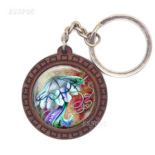 Poppy Jewellery Poppy Keychain Three Feathered Friends Keyring Psychedelic Jellyfish Key Fob(China)