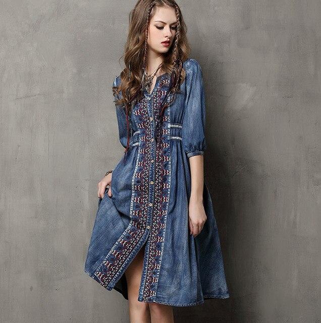 2017 High Quality Denim Dresses Women Vintage Boho Dresses Cotton V-Neck  Embroidery Drawstring Loose Women Dress Vestido Denim b39f35f4625e