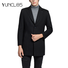 YUNCLOS Men's Woolen Coat Soft Cashmere Jacket Single Breasted Casual Overcoat High Quality Manteau Homme Overcoat Wool Coat