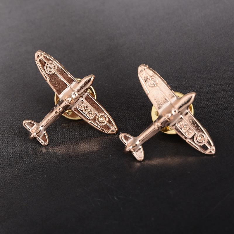 1pc Golden Aircraft Alloy Material Brooches For Men Party Wedding As Gift Suit Lapel Pins Jewelry Accessories