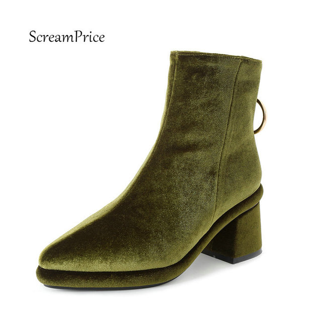 Sexy Pointed Toe Women Suede Back Zipper Ankle Boots Comfortable Thick Heel Winter Shoes Green B