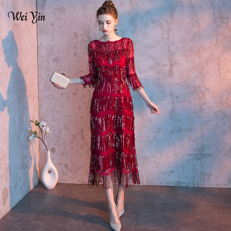 wei yin 2019 New O Neck Sequin Gown Sexy Mermaid   Dress   Elegant Tasse   Evening     Dresses   Vestido Formal   Evening     Dresses   WY1636