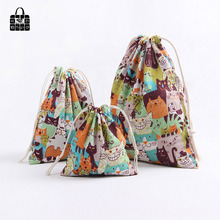 1 pcs Cute cats animal 100% Cotton Bunch Pocket Travel Accessories Clothing Toys Storage Bag Organizers Multi-Function