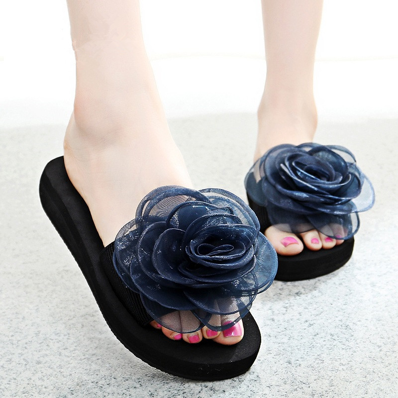 Women Slippers Summer Lace Floral Beach Shoes Fashion Flower Light Slippers Ladies Flat Platform Non-Slip Female Shoes ALD932 women slippers summer bling beach shoes sequined rivet fashion slippers female light flat platform non slip ladies shoes ald931