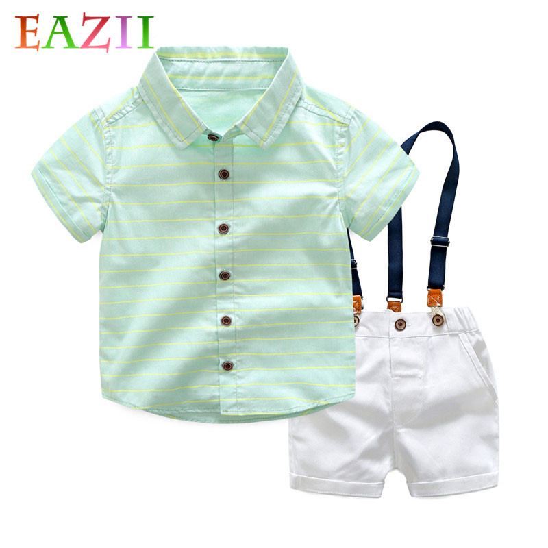 EAZII 2-6Yrs Boy Clothing Sets 2019 Summer Casual Striped Shirts + Trousers 2PCS/Pack Kids Boy Clothes Set Children Clothing