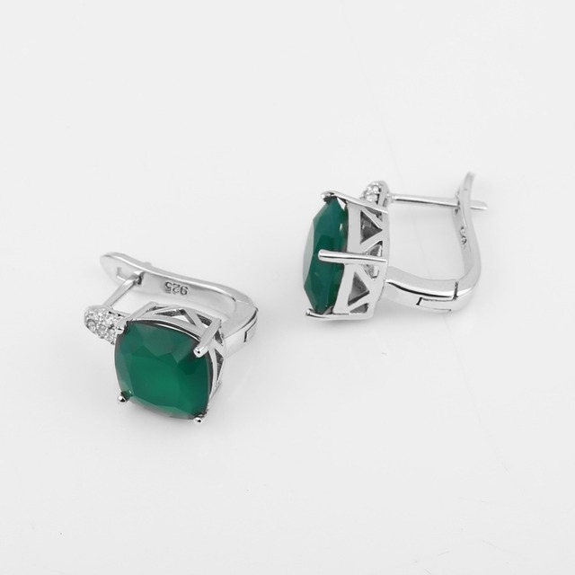 Gem's Ballet 7.33Ct Natural Green Agate Gemstone Stud Earrings 925 Sterling Silver Fine Jewelry For Women Earrings-in Earrings from Jewelry & Accessories on Aliexpress.com | Alibaba Group