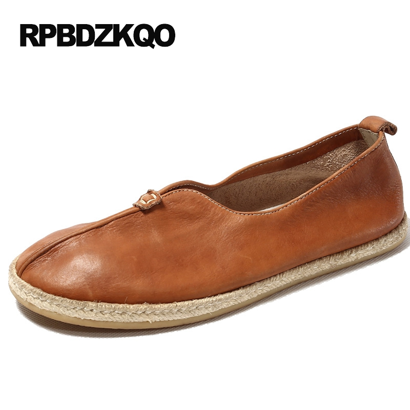 Slip On Brown Retro Genuine Leather Driving Espadrilles Hemp Casual Men Summer Custom Handmade Shoes Real Popular Fashion Hot branded men s penny loafes casual men s full grain leather emboss crocodile boat shoes slip on breathable moccasin driving shoes