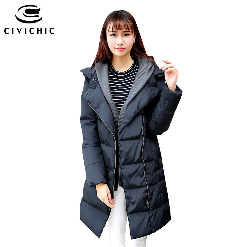 CIVICHIC Hot Trendy Plus Size Woman Thicken Down Jacket Winter Long Loose Warm Coat Detachable Knitted Cap Eiderdown Parka DC566 2016 new hot winter thicken warm woman down jacket coat parkas outerwear hooded long loose luxury end plus size xl dark blue
