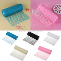 12 X 25Yard Vintage Lace Tulle Roll Table Runner Chair Sash Wedding Party Decor
