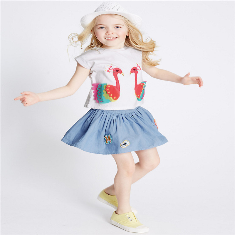Jumping baby Tees & Tops clothing for girls summer t shirts cotton kids clothes animals print fashion ice cream t shirt girls
