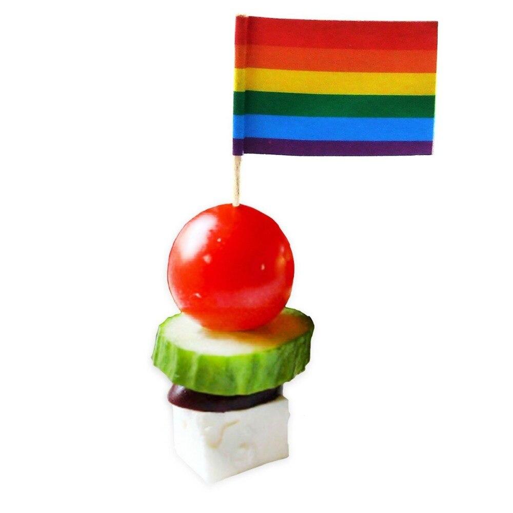 Mini Rainbow Flag Toothpick Flag 50pcs/bag Lesbian Gay Pride LGBT Flag Banner Colorful Rainbow Flag cooktail sticks&picks(China)