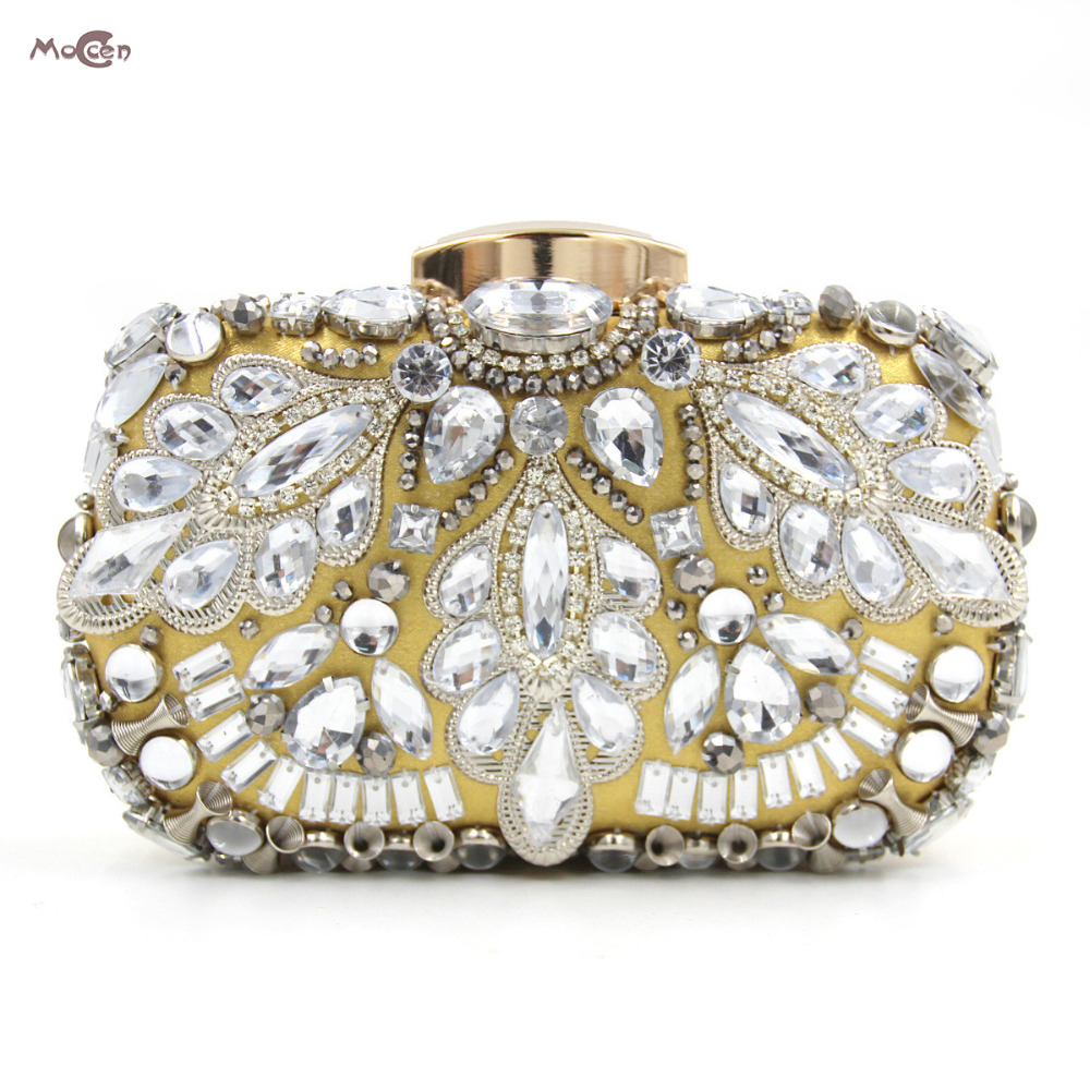 Moccen Luxury Evening Clutch Bag Designer Women Wedding Party Handbag Wallet Crystal Hasp Hand Bag European And American Style luxury crystal women wedding clutch handbag evening bag floral beading party purses new designer smyzh e0271