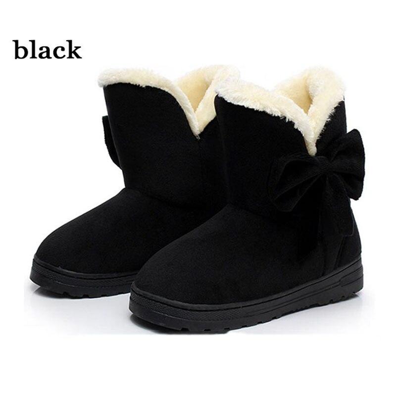 Pajarita Mujer Tobillo negro De 2019 Nuevos Botas brown Invierno Caliente coffee Beige Zapatos Nieve 6Xd4qdP
