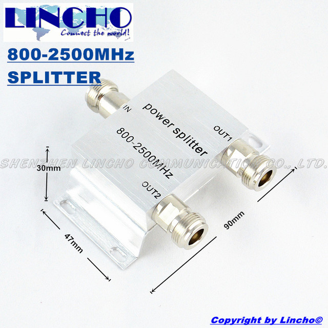 2 Vías RF Micro-strip Divisor de Potencia 800-2500 MHz Amplificador de señal de teléfono celular Repetidor Divisor N tipo