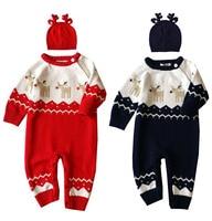 Autumn Winter Baby Romper Deer Heart Shaped Prints Warm Baby Clothes Hat 2pcs Set Baby Boy