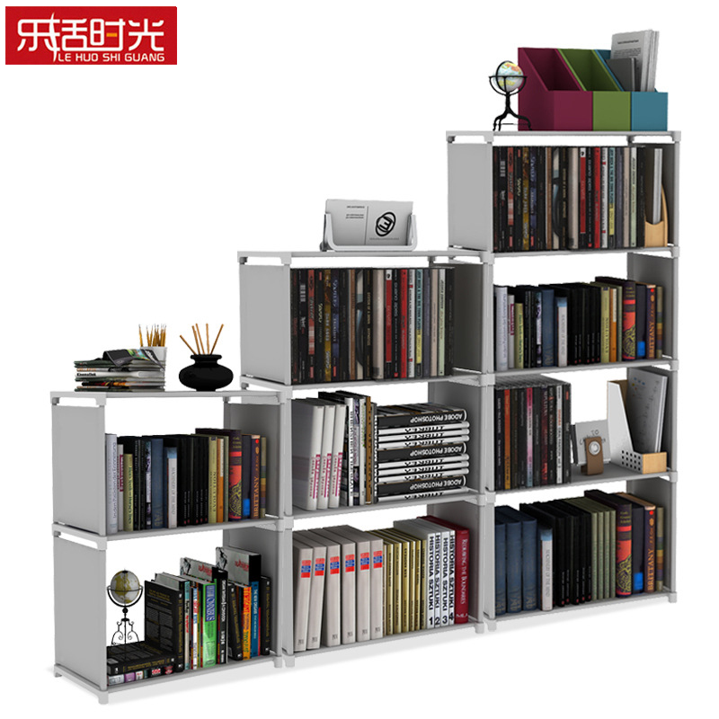 Multi Grids Bookshelf Simple Modern Assembled Non woven Fabric Storage Rack Removable Book Organizer Display Shelf