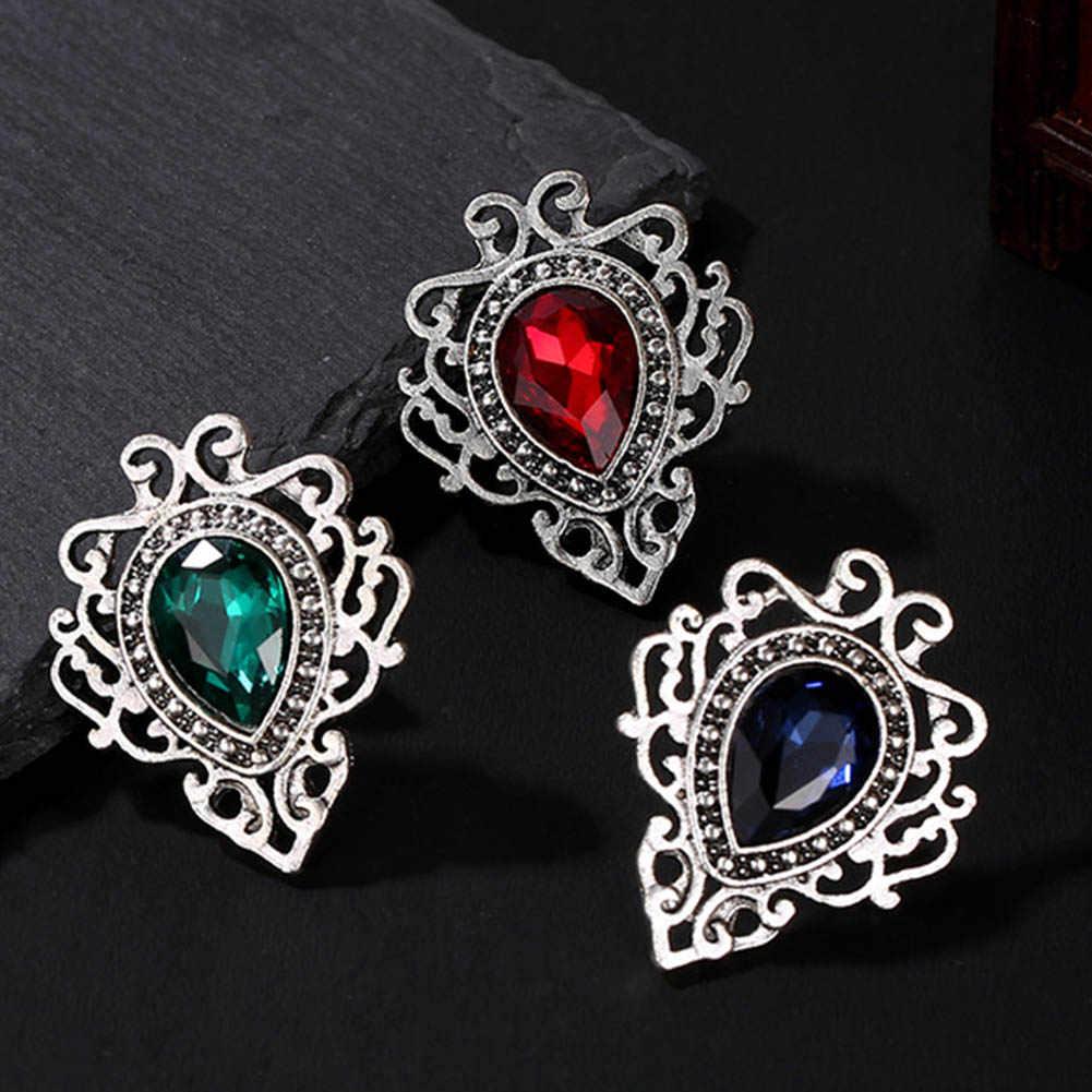 Water Drop Blue Gem Crystals Brooches Rhinestone Brooch Women Accessories  Flower Pins Vintage 79285525b69b