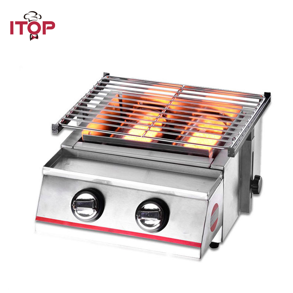 ITOP Gas BBQ Grills 2 Burners LPG Griddles Barbecue Tools For Outdoor Camping Picnic Use Smokeless