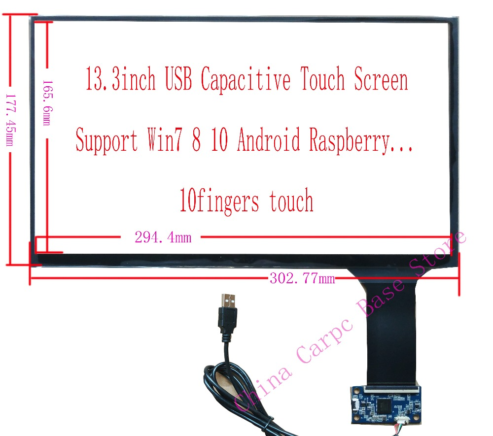 13 3 inch USB Capacitive Touch Screen Raspberry Pi win7 8 10 10Fingers Touch Screen