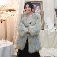 ZDFURS* Super star fox coat . multicolor Genuine Leather Knitted fur fox coat,Fashion Slim Fur Winter fox coat women