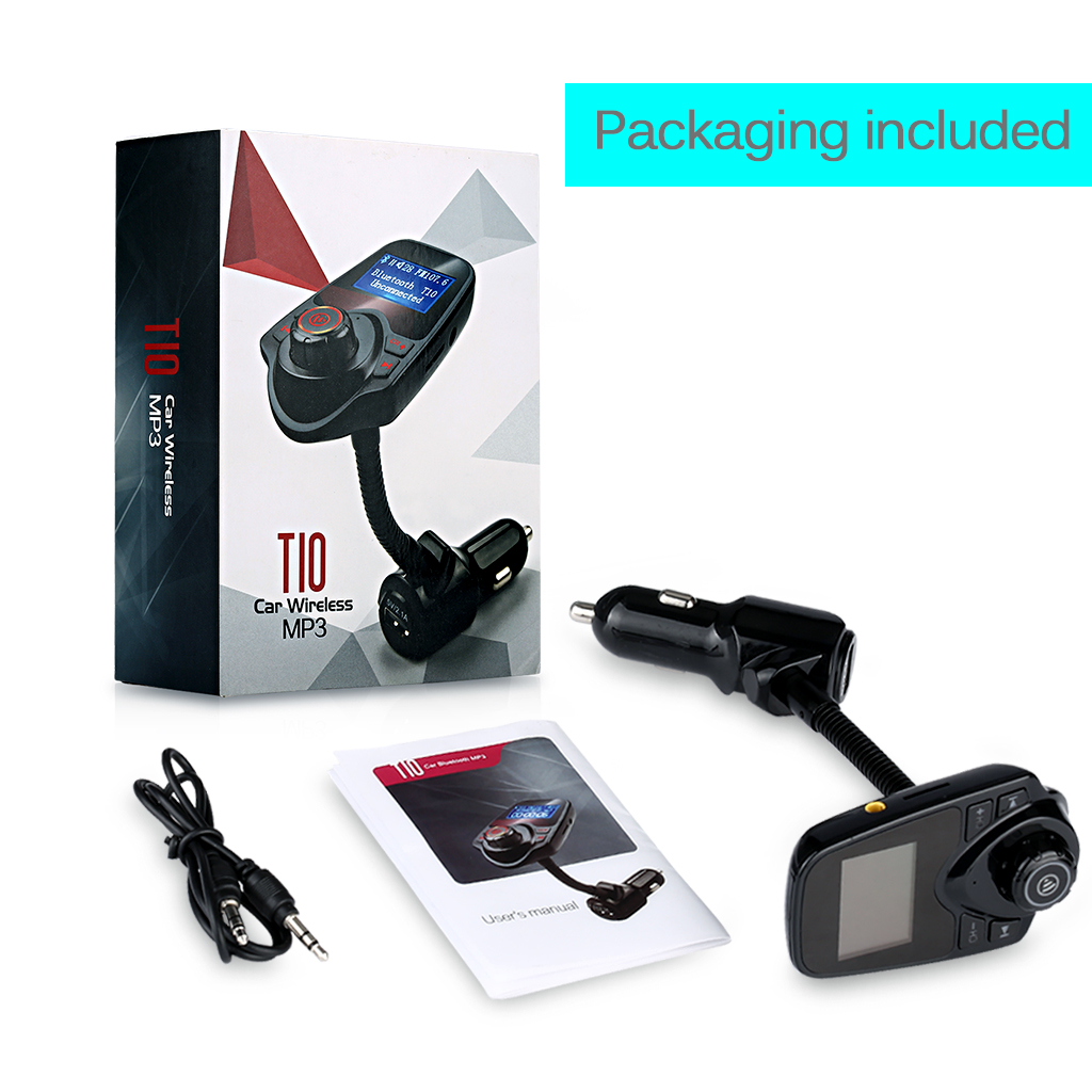 US $15 28 |T10 Wireless Bluetooth Car Kit Hands Free Call FM Transmitter  Modulator USB Charge MP3 Music Player TF Card Port AUX IN-in Car MP3  Players