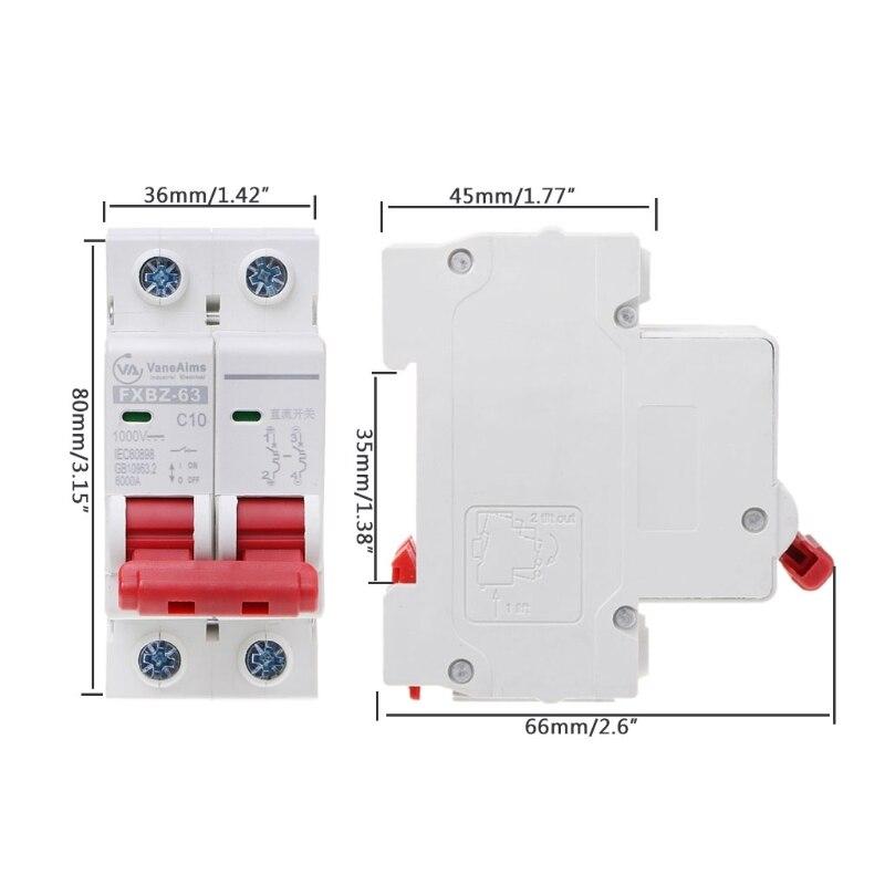 2X  DC1000V Solar Mini Circuit Breaker 10A//16A//32A//50A//63A DC Photovoltaic MCB