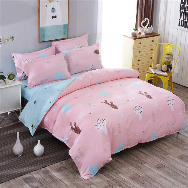 Pink Cactus Bedding Set Twin Full Queen King Size Girl Boy Rabbit Bed Sheet  Set 3