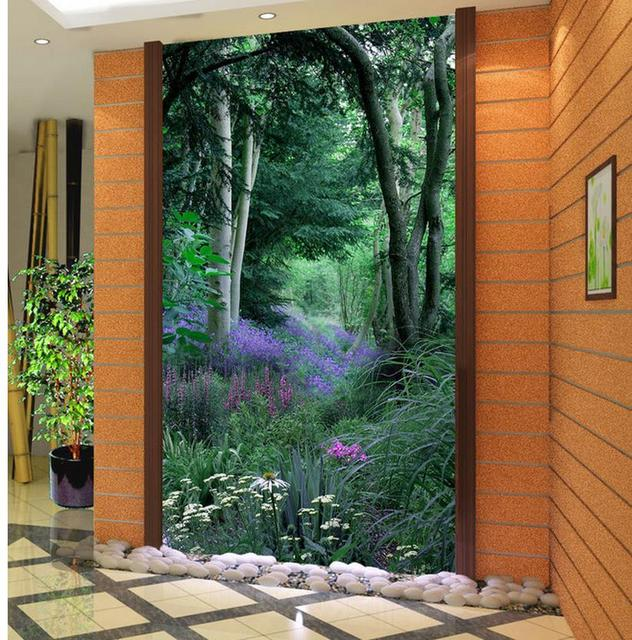 Home Decoration 3d Bathroom Wallpaper Vase Door 3D Entrance Aisle  Background Wall Window Mural Wallpaper