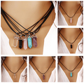 Faux  Rock Natural Quartz Healing Point Chakra Reiki Pendant Rope Necklace
