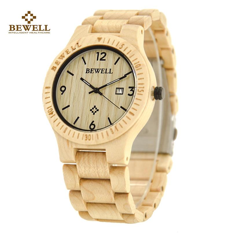 Europe and America Fashion Ultrathin Men and Women BEWELL Wood Watch Quartz Wristwatch Three Pointers Display Calendar 086B
