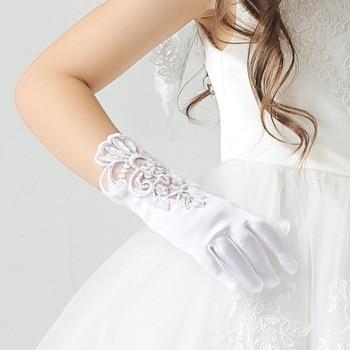 In stock! fashion Retail Kids Long Finger short Gloves for Flower Girl Children Party Gloves White free ship