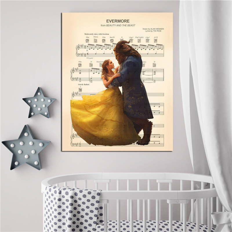 Evermore Beauty And The Beast Sheet Music Wall Art Canvas Posters Prints Painting Wall Pictures For Modern Bedroom Home Decor Hd