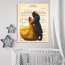 Evermore Beauty And The Beast Sheet Music Wall Art Canvas Posters Prints Painting Wall Pictures For Modern Bedroom Home Decor HD beauty beast movie wallpaper wall art canvas posters prints oil painting wall pictures for bedroom modern home decor accessories