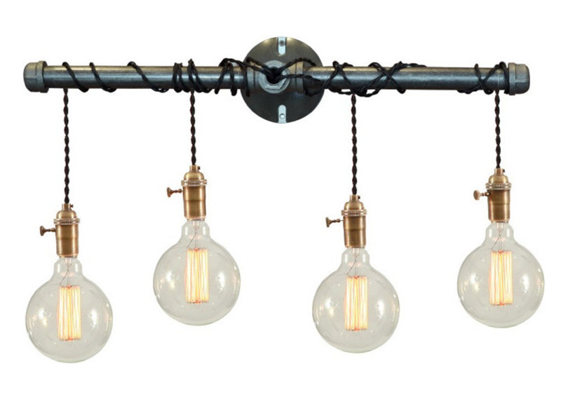 Free Shipping Modern Vintage Loft Metal Brown Rustic Pipe Wall Lamp Blackbathroom Vanity Light New In Lamps From Lights
