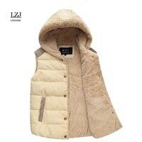 אפוד חורף נשים מעיל חם בחורף רוסית LZJ רישום חדש עור כותנה למטה אפוד עיבוי ברדס מעיל מזדמן הלבשה עליונה